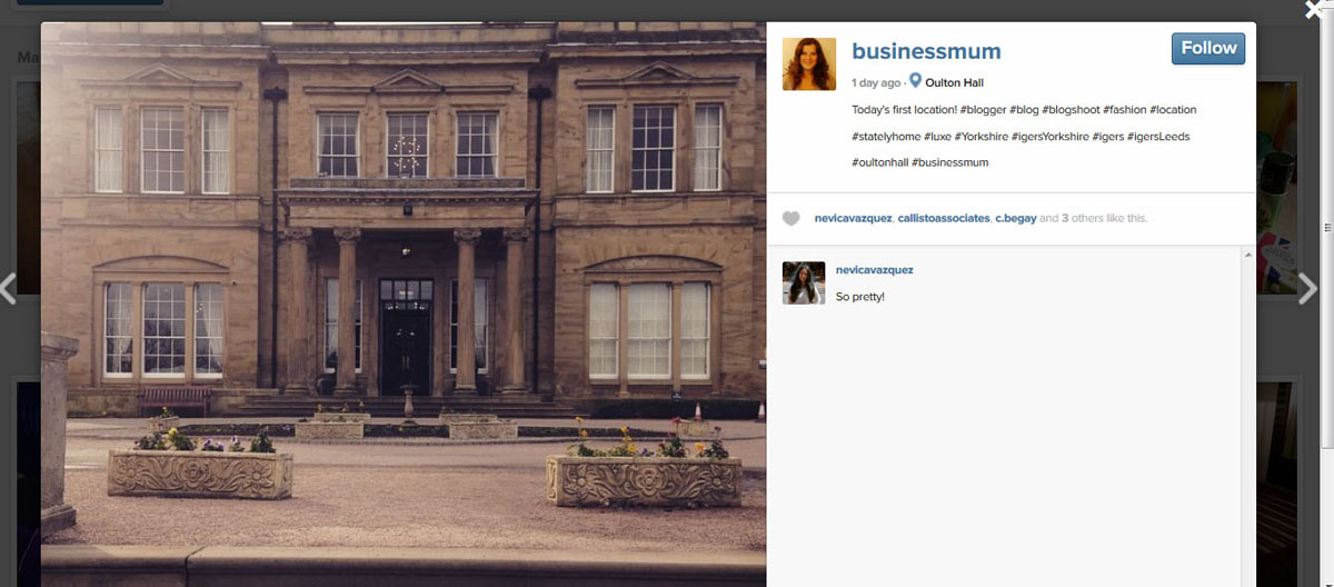 Instagram @Businessmum Oulton Hall shot