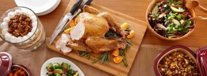 Roast chicken on a wooden board
