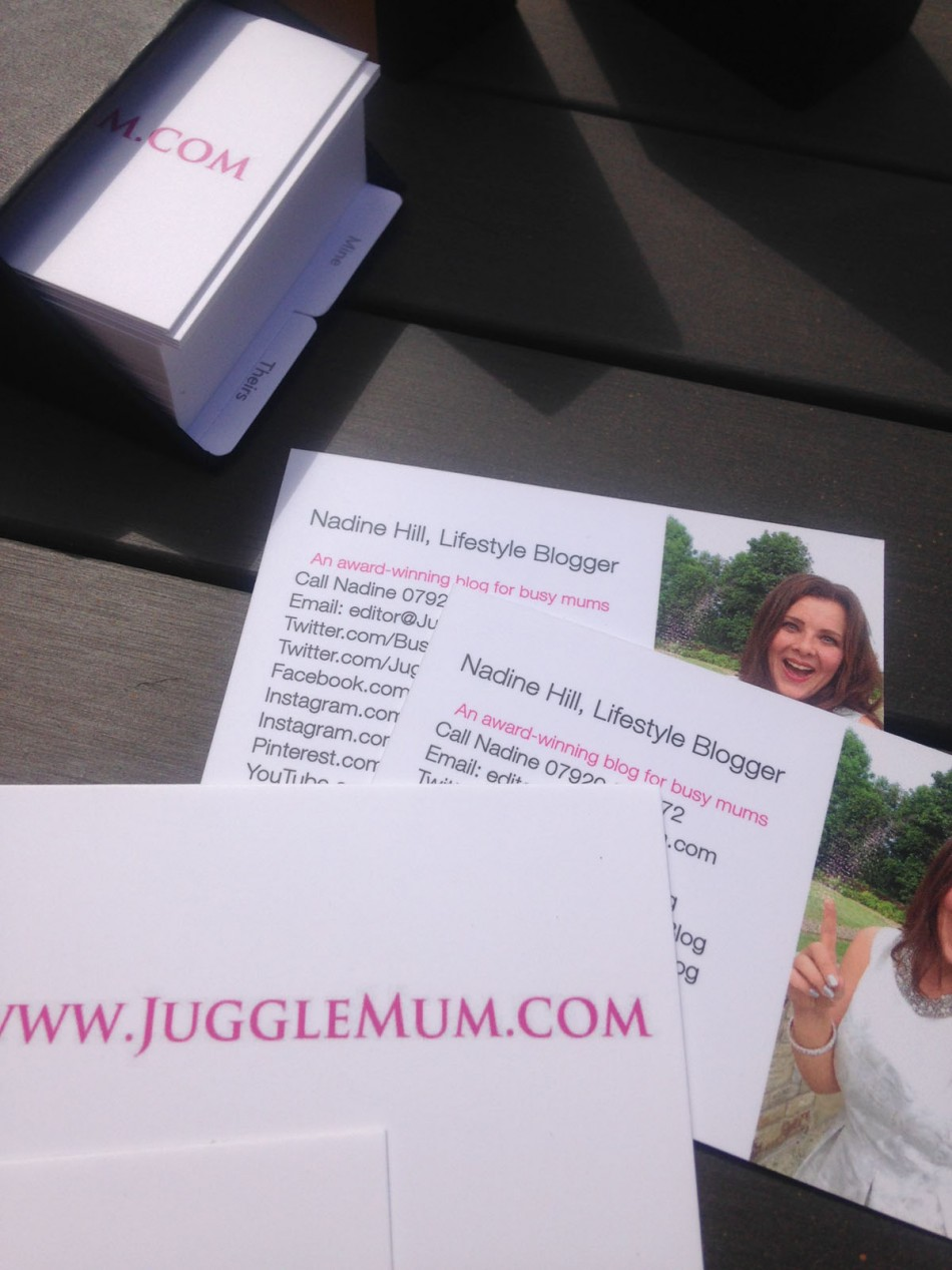 JuggleMum business cards close up