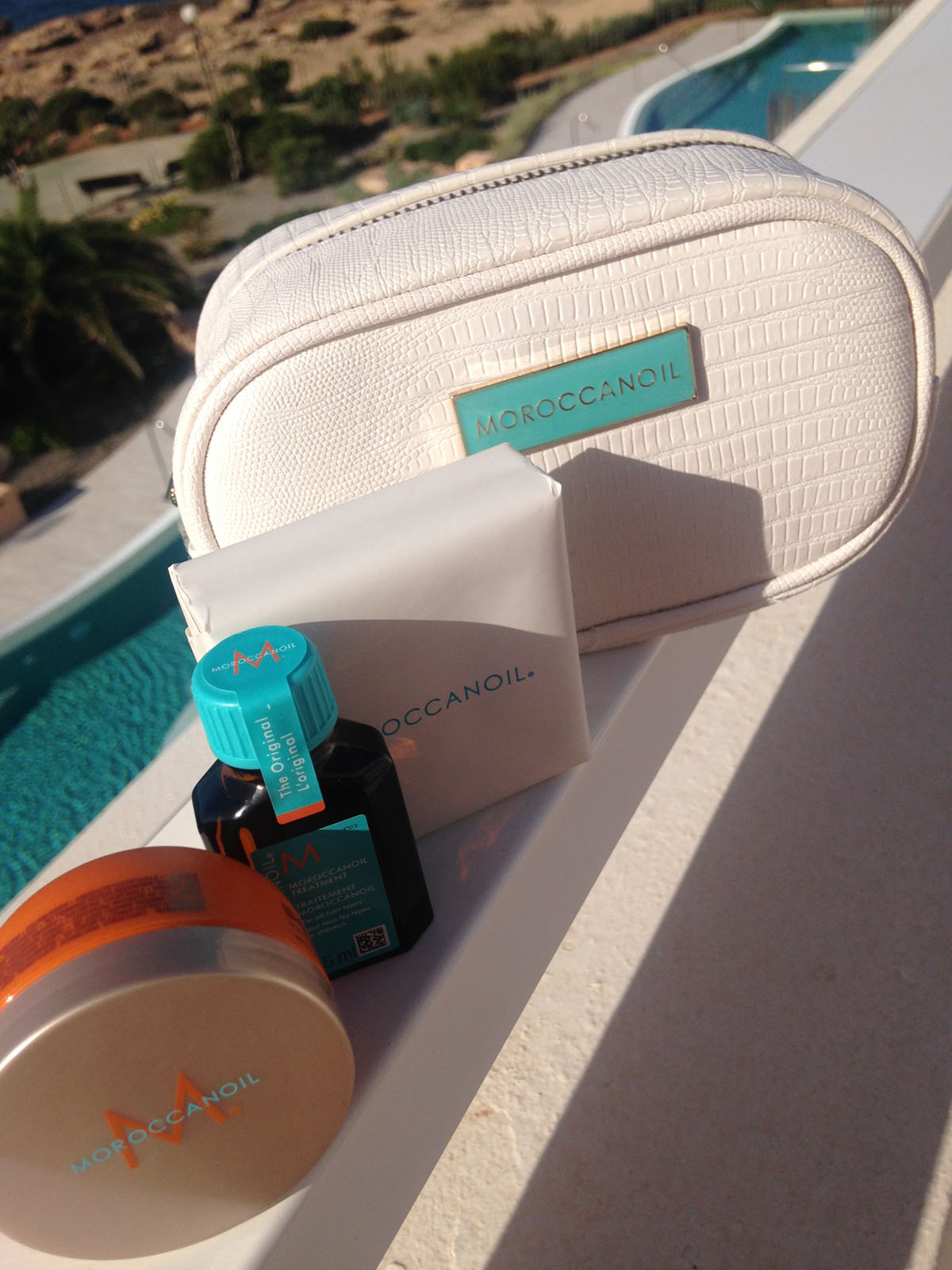 Moroccan Oil on balcony
