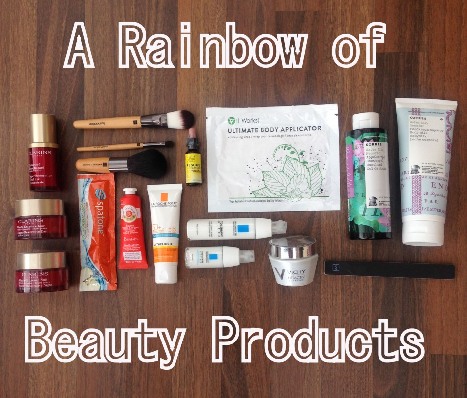 Rainbow of beauty products