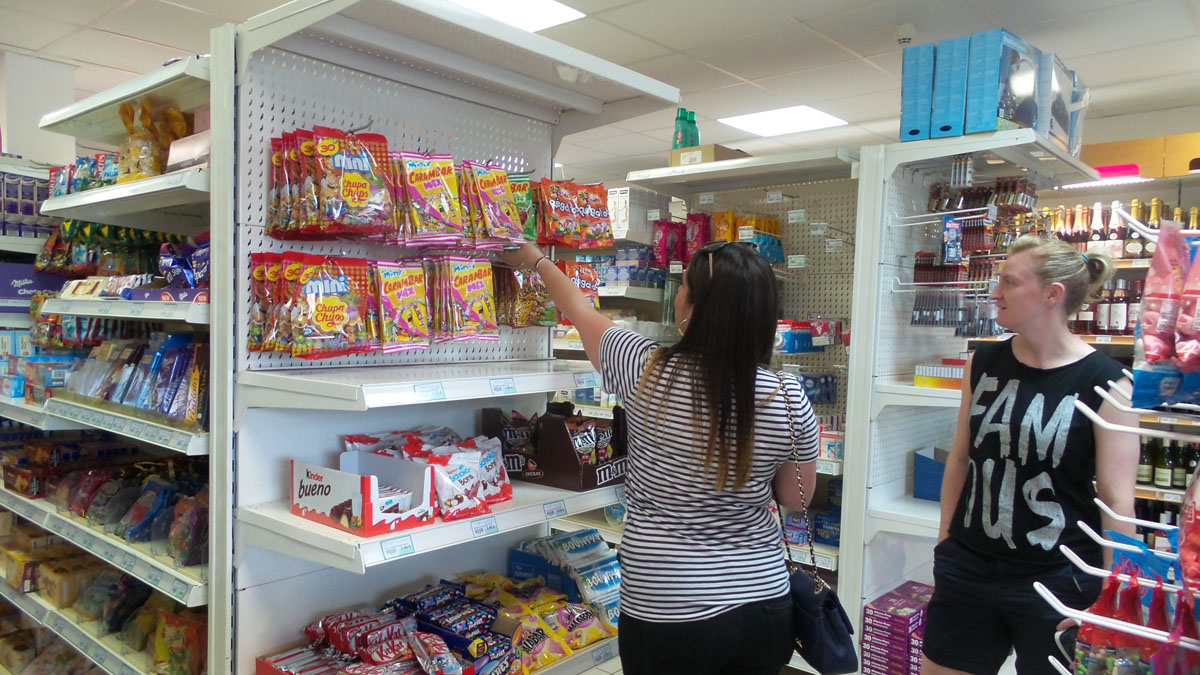 Stacey buying french sweets