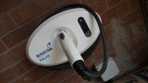 close up of electric car charging station