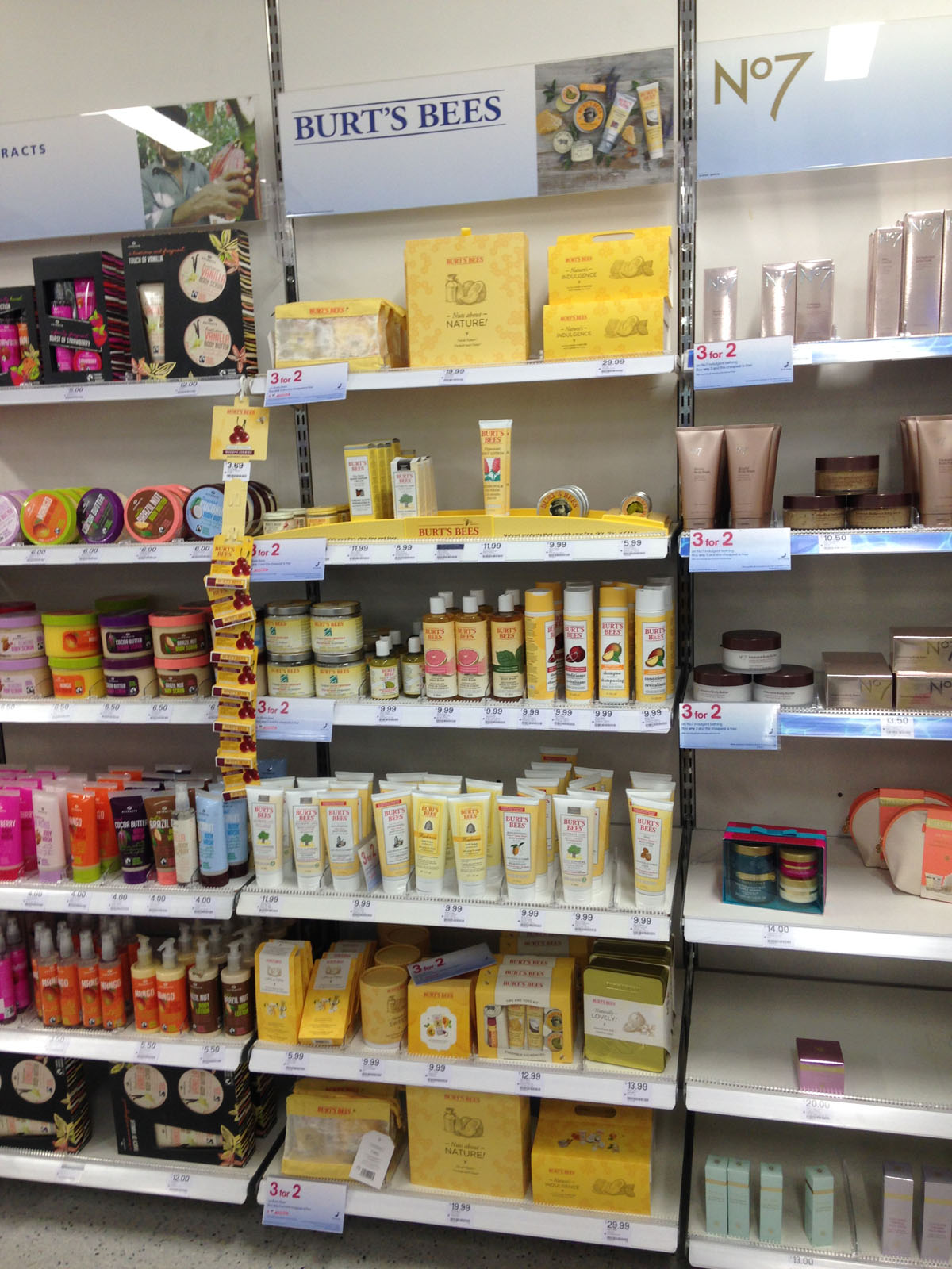 full length shelves of Burt's Bees products