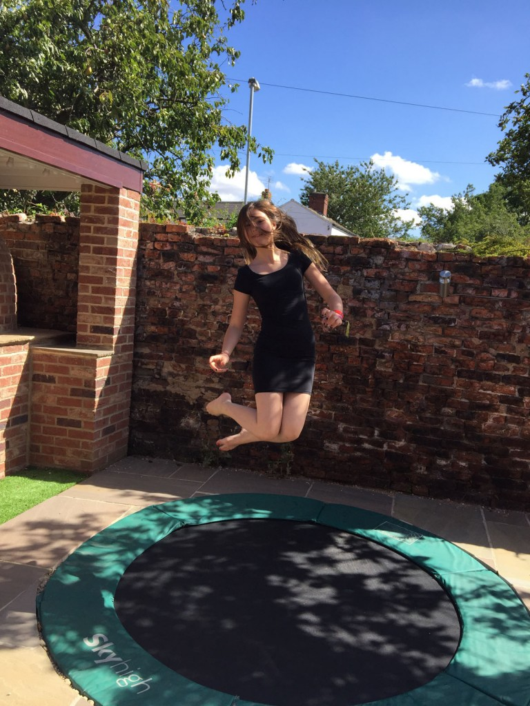 happy on trampoline