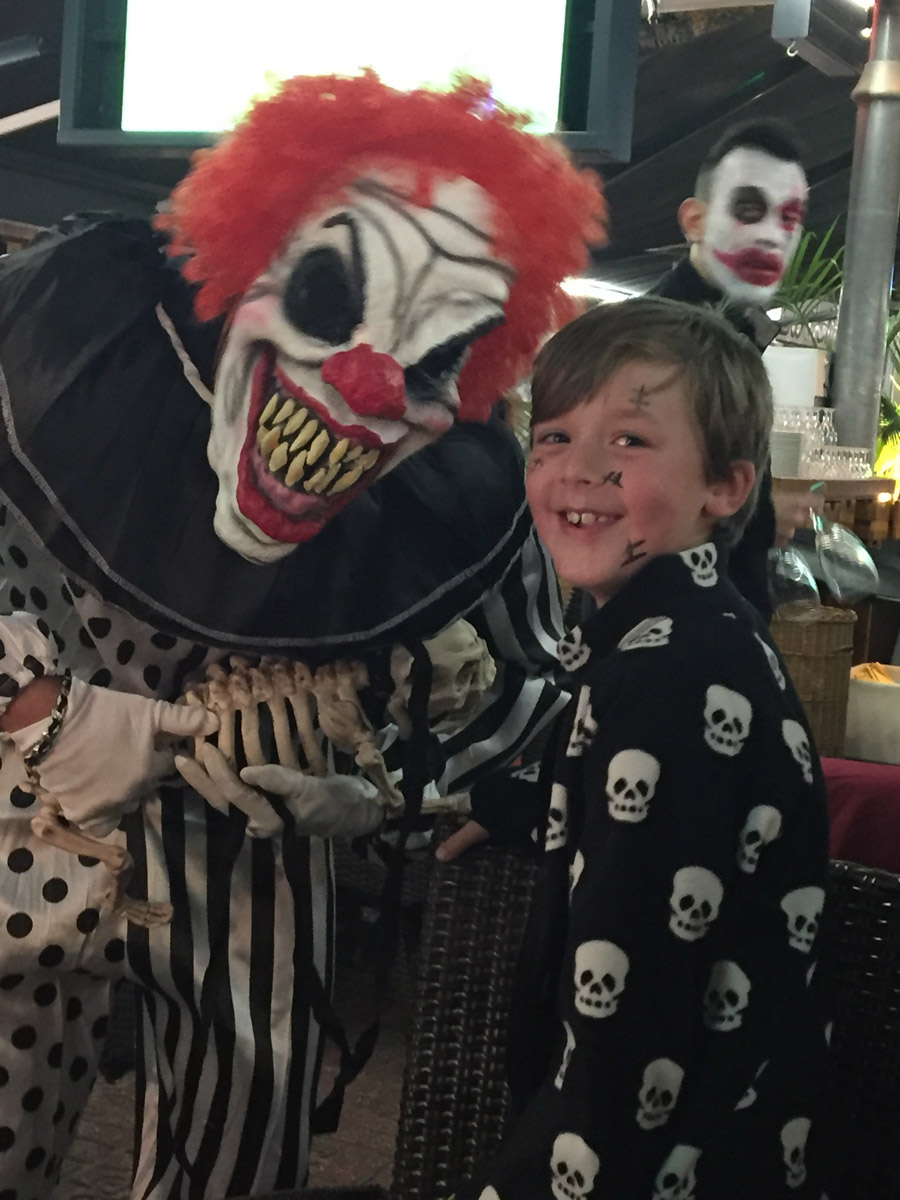 scary clown and my son