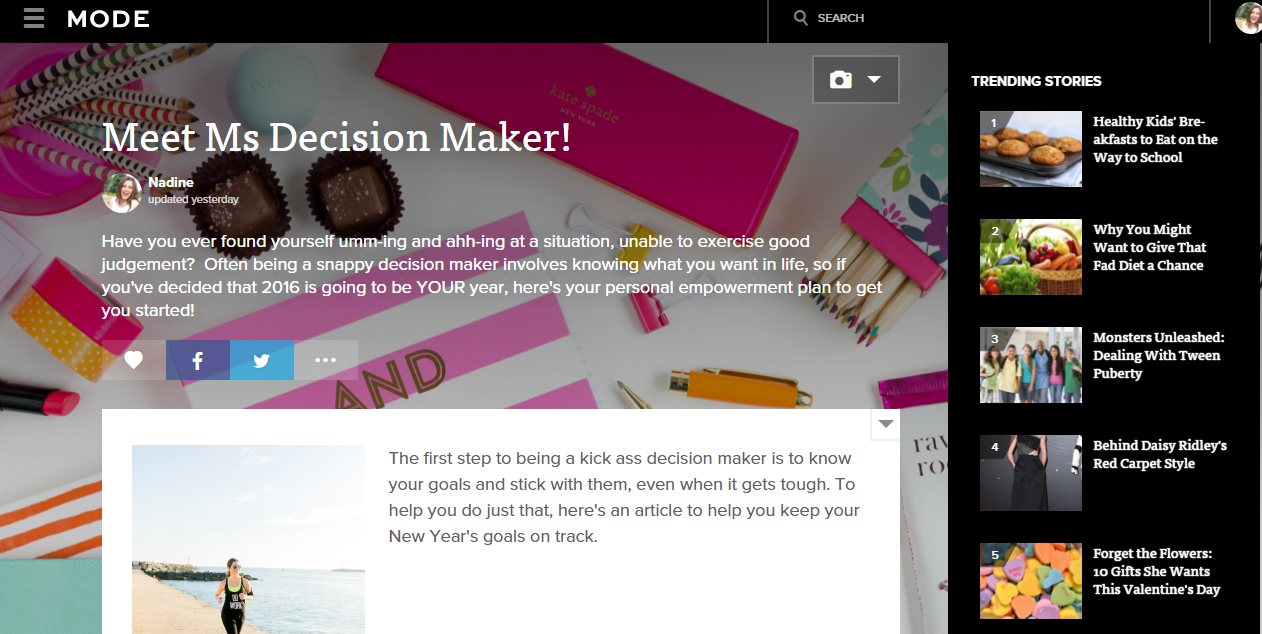 MODE stories decision maker screenshot