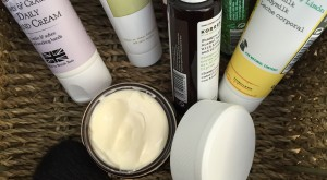 beauty products in basket