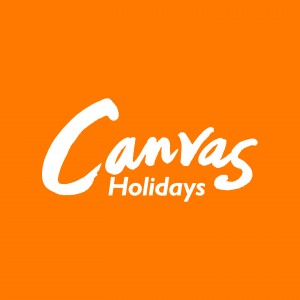 Canvas Holidays white on orange logo
