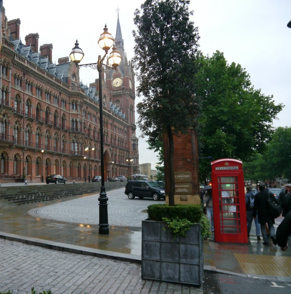 London St Pancras hotel red phonebox