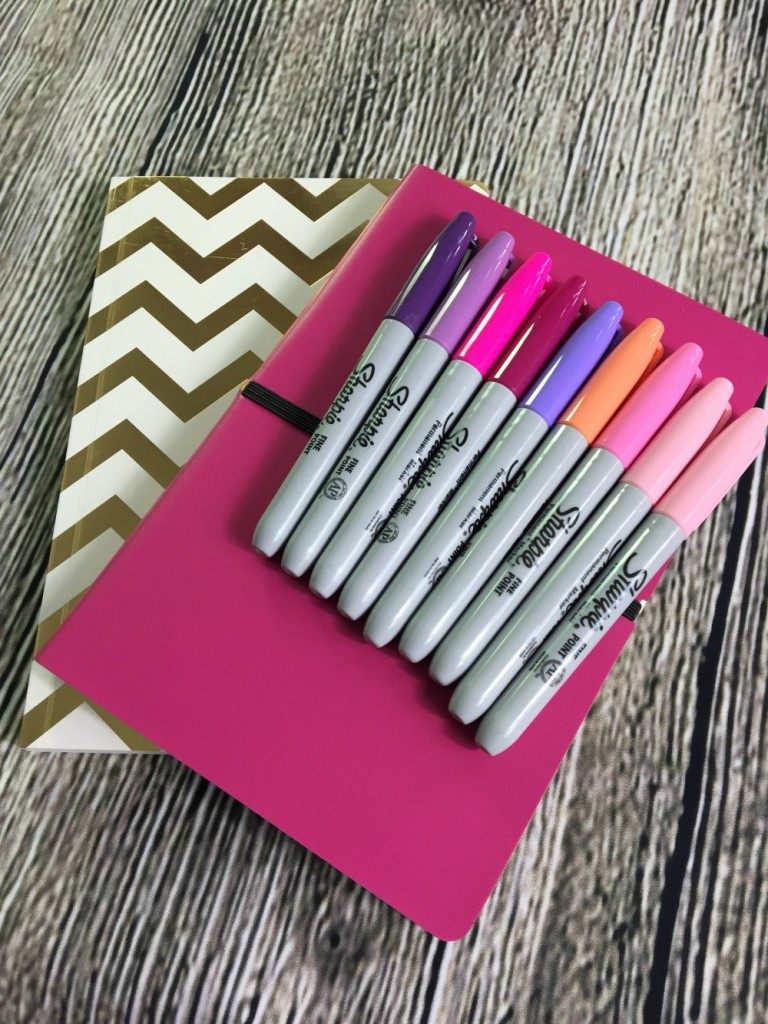 pink desktop pens & note book