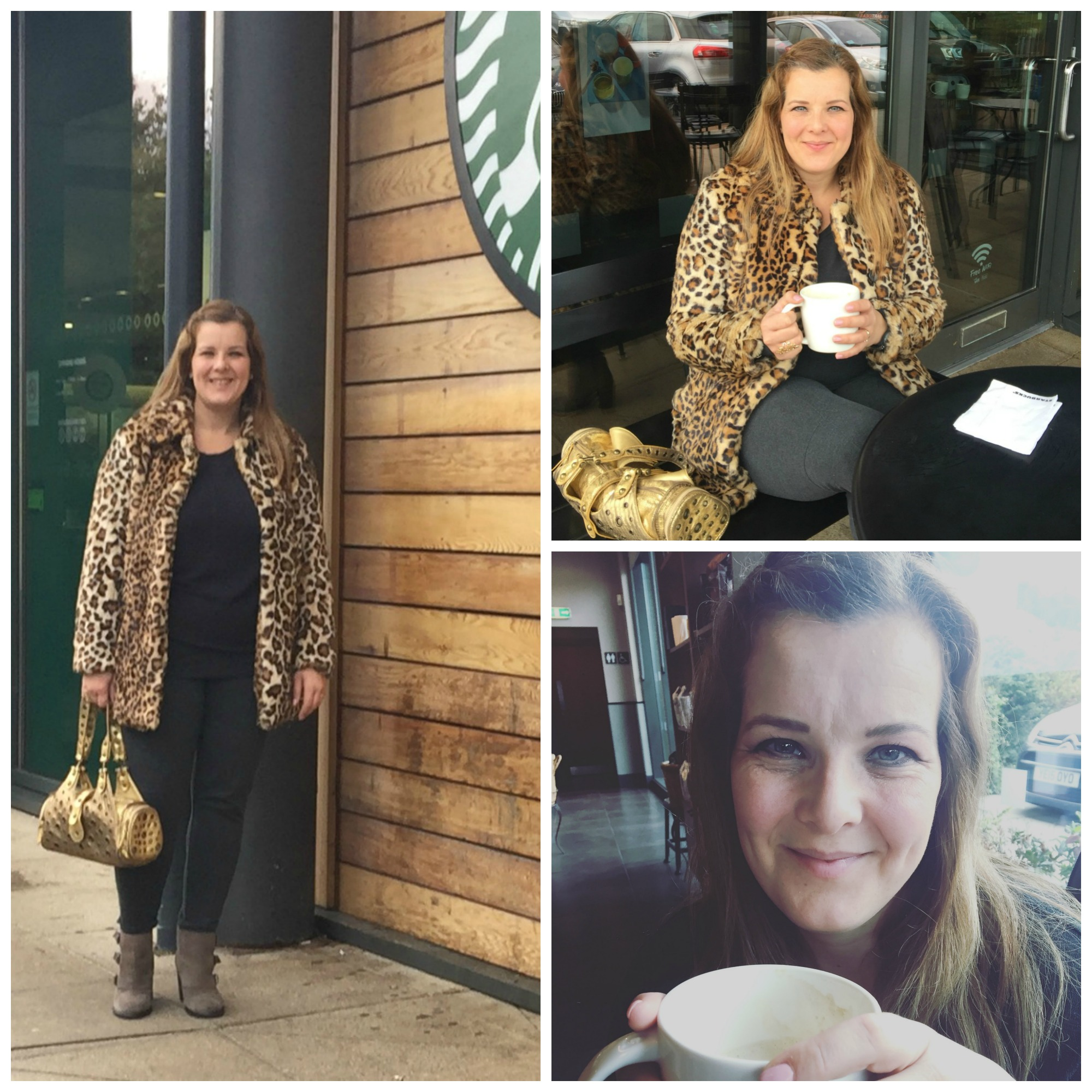 Leopard print coat out for coffee