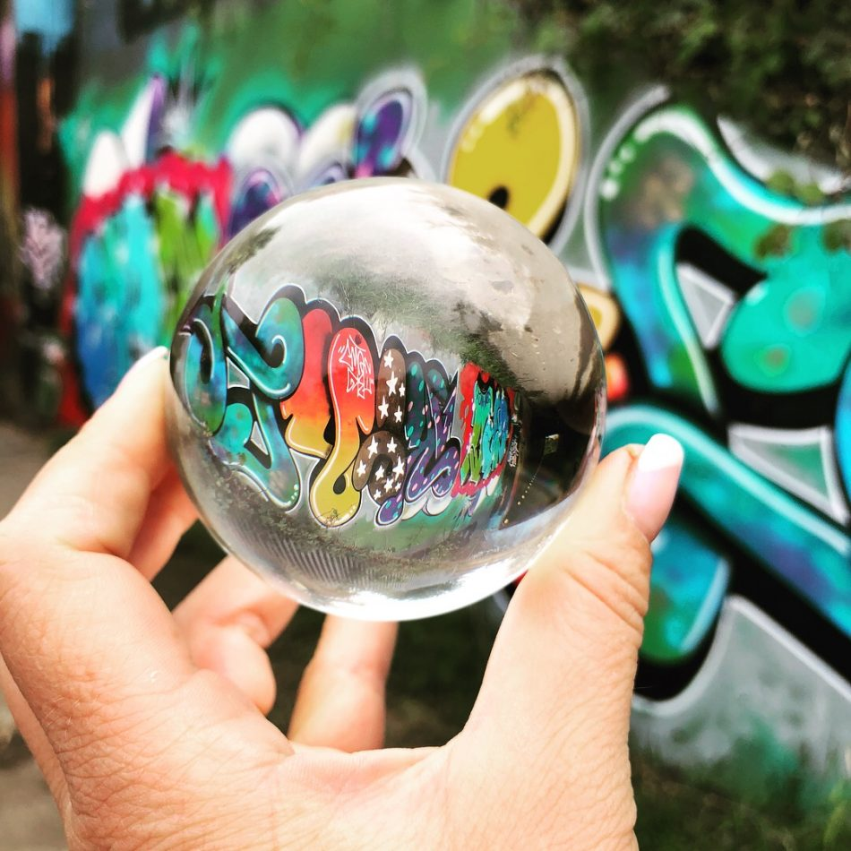 lens ball on graffiti