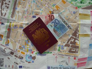 passport euros map money currency